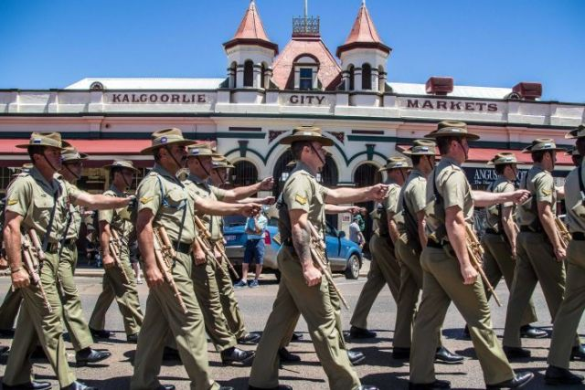 Australian soldier marching in Kalgoorlie