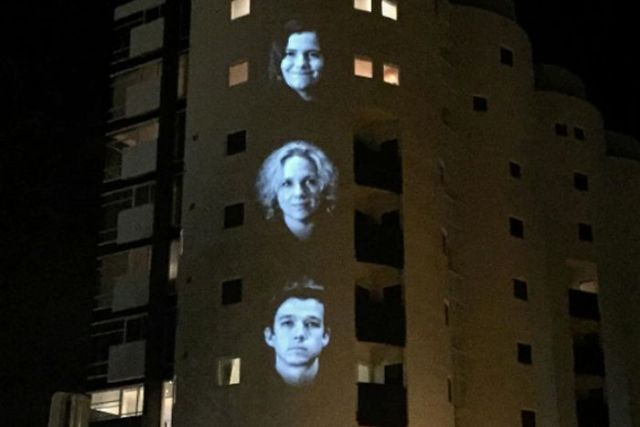 A light projection as part of Festival of Voices in Hobart, Tasmania.