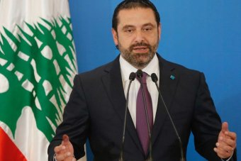 Lebanese Prime Minister Saad al-Hariri gestures as he speaks during a news conference.