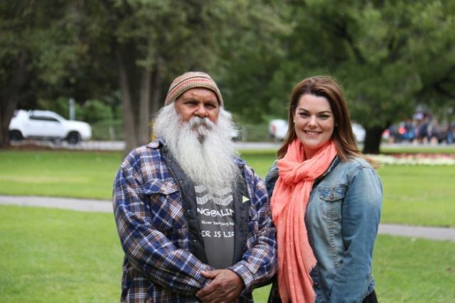 Greens candidate Major Sumner with Senator Sarah Hanson-Young.
