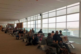 Passengers left stranded at Adelaide Airport due to heavy fog.