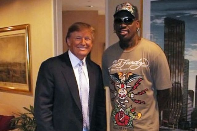 Mr Trump and Rodman in 2009 after the former NBA star's appearance on Celebrity Apprentice.