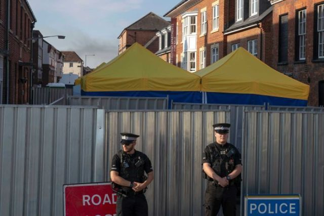 Police secure a point of interest in Salisbury