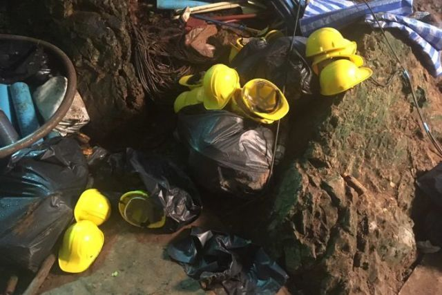 Equipment used in the rescue left at the cave entrance while rescuers rested.