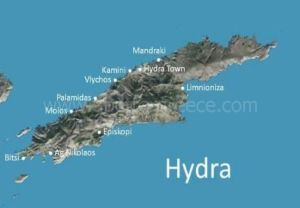 map of Hydra, Saronic Gulf, Greece