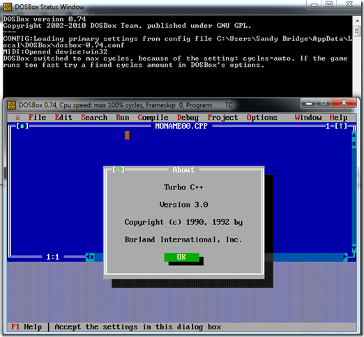 TurboC++ Running in DosBox