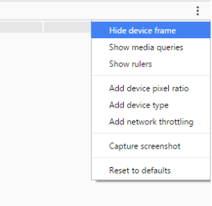 a picture showing where to hide the device frame in chrome