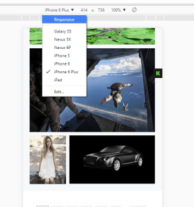 a picture showing where to select Device as Responsive in Chrome device menu in dev tools