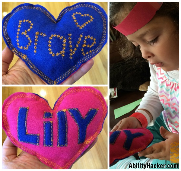 Brave Pillow - Heart with Brave on one side and Lily stitched on to the other