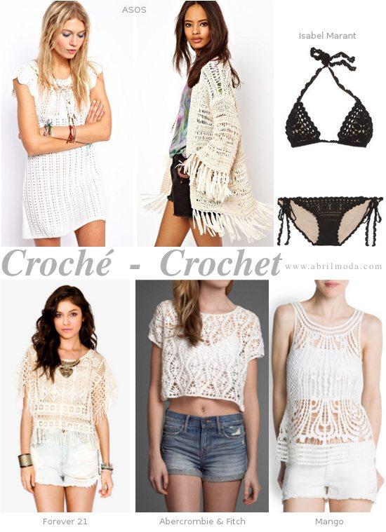 Ejemplos de la oferta de prendas en croché en este verano