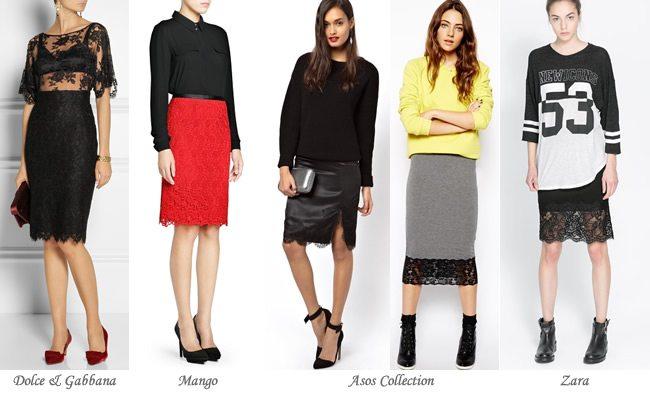 Faldas con encaje o efecto de encaje
