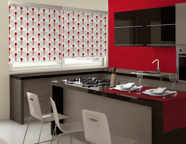 Viste las ventanas de la cocina con estores enrollables - Estor para cocina ...