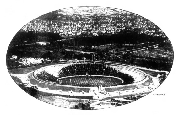 "October 21, 1921 - An airplane snapshot of the Yale ""Bowl"" taken during a minor football game."