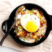 Savory Oatmeal with Soft-Cooked Egg + Bacon