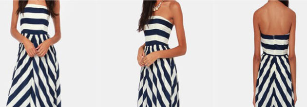 Dreamboat Come True Ivory and Navy Blue Striped Maxi Dress, Fashion Finds, Fashion Talk, Lulus, Must Haves, Oscar de la Renta Spring 2013