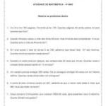 Problemas de matemática – 4º ano