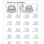 Atividades de matemática: contas de soma e subtração com reserva