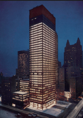 The Seagram Building at night