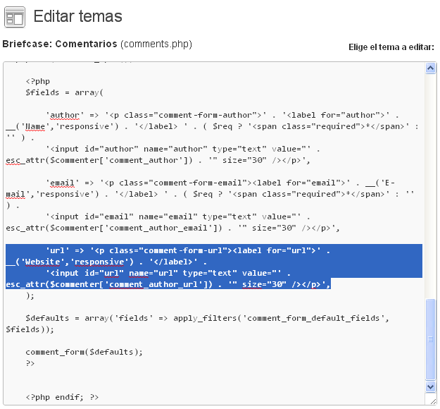 Editar comments WordPress.php