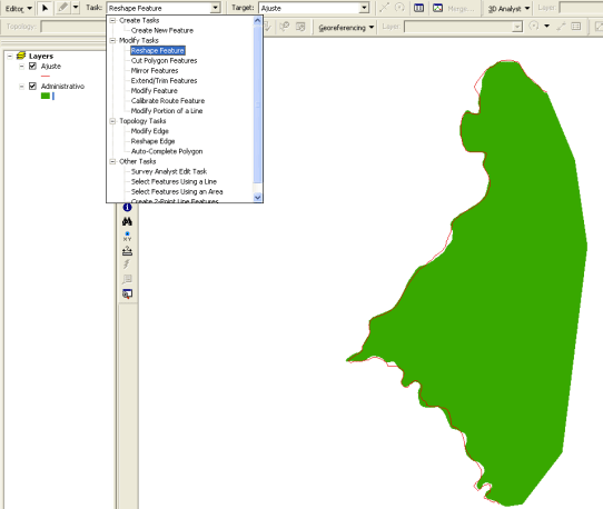Reshape feature ArcGIS