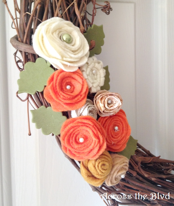 felt flowers for fall wreath