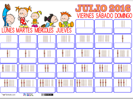 CALENDARIO JULIO PALILLOS