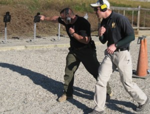 The author practicing shooting on the move at TDI