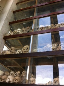 Genocide monument filled with skulls excavated from the graves of the killing fields.