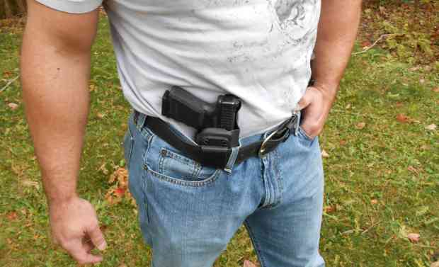 "Appendix carry with the excellent ""Keeper"" holster designed by Spencer Keepers"