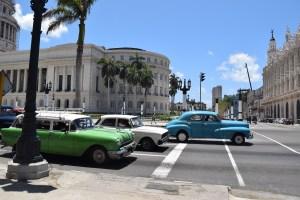 Some of the old cars on the street in Old Havana