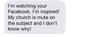 Today I received this text from a friend. What we do here matters. What we do here is a witness to the love of Jesus in the world. Thanks be to God!