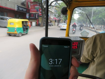 Full bars but 2G speeds in an auto-rickshaw in Bangalore.