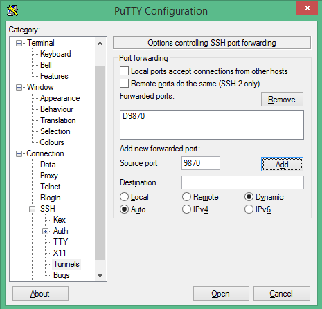 Escaping the firewall with an SSH tunnel, SOCKS proxy, and PuTTY