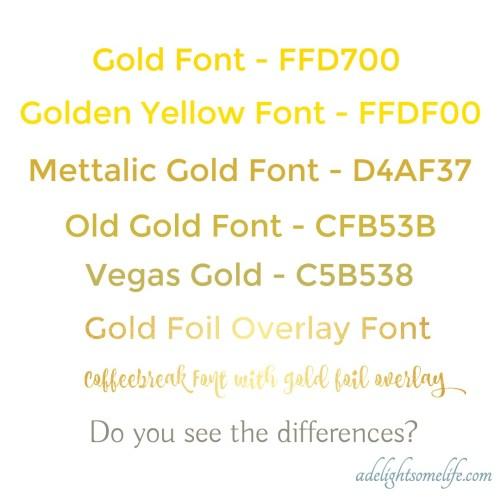 Medium Of Metallic Gold Color Code