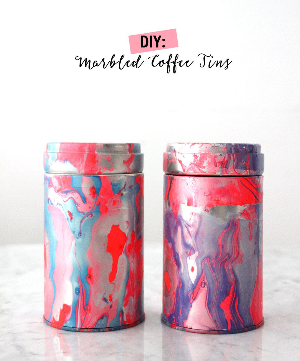 DIY: Marbled Coffee Tins