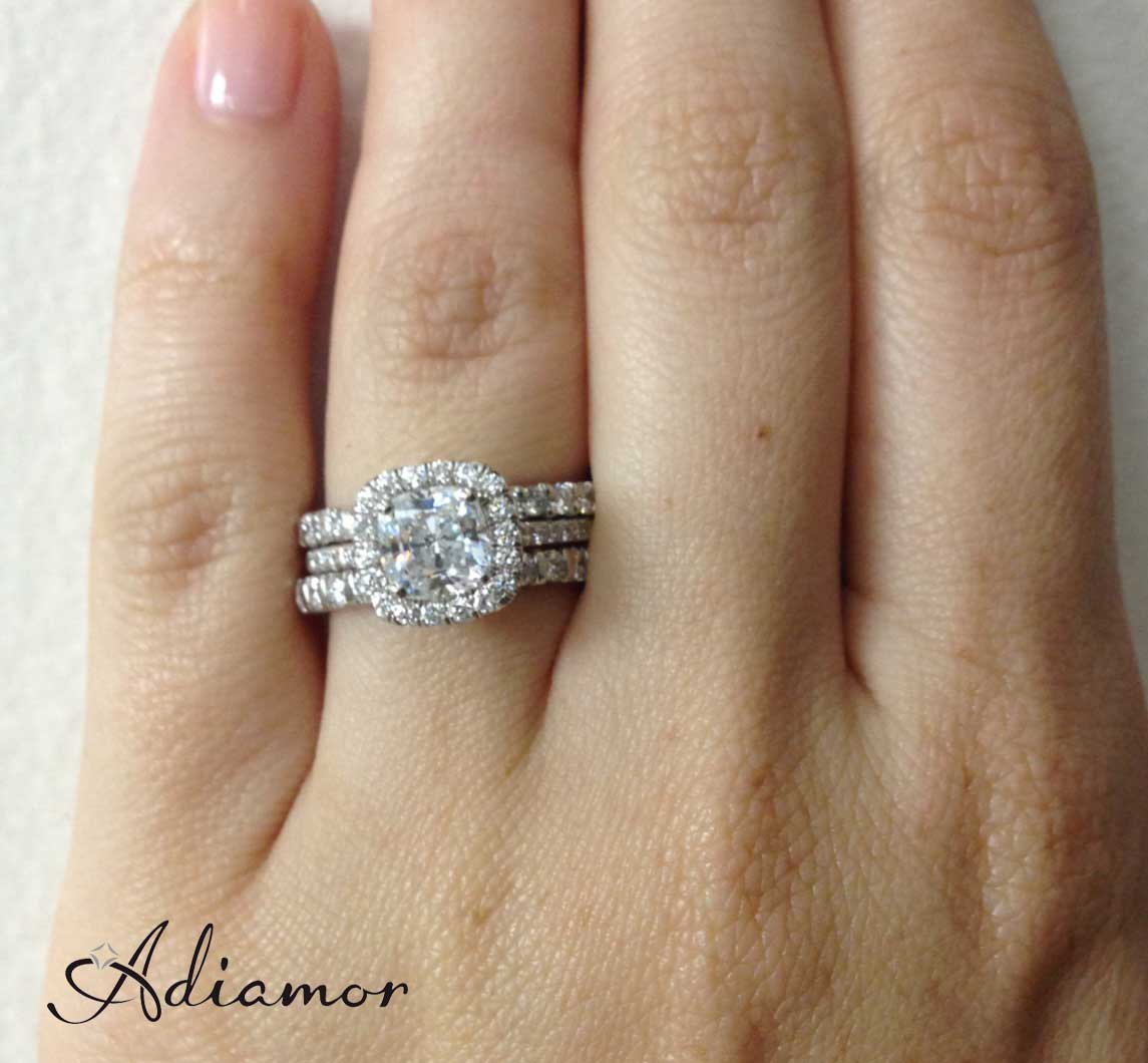 wedding ring stackable wedding bands Cushion Halo Ring with Mismatched Stacked Bands