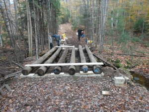 A 12-foot wide snowmobile trail bridge constructed in the Moose River Plains in 2012.