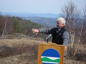 Commissioner Martens announcing the Cat and Thomas Mountain addition to the Adirondack Forest Preserve