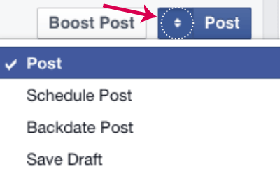 Scheduling a post in Facebook