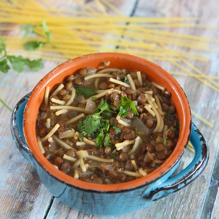 Lebanese Lentil Soup with Noodles is a delicious easy-to-make soup, flavored beautifully with the addition of cilantro and lemon