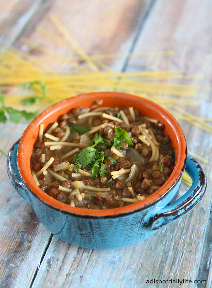 This delicious Lebanese Lentil Soup with Noodles, flavored by the addition of cilantro and lemon, is easy-to-make and inexpensive too!