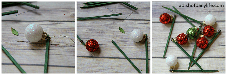 How to wire ornaments on to florist picks to use on the Christmas Tree Topiary