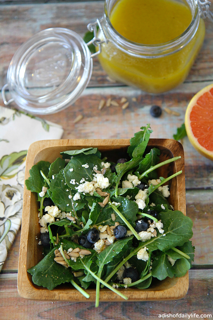 A delightful combination of kale, blueberries, feta, and sunflower seeds, tossed with a grapefruit vinaigrette....the perfect combination of sweet and tart!