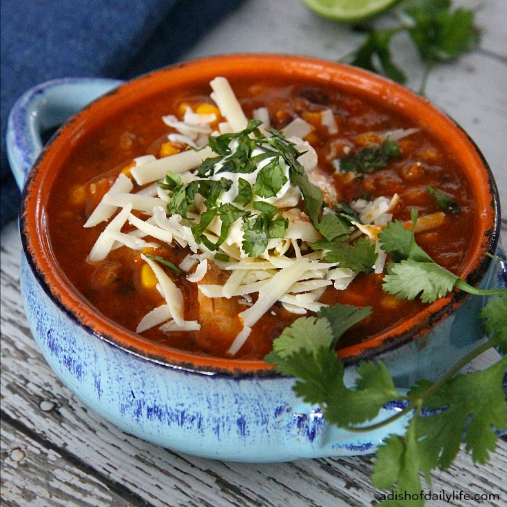 Fiesta Chicken Enchilada Soup ~ delicious, easy to make, and perfect for a chilly evening! One Pot, 30 min meal