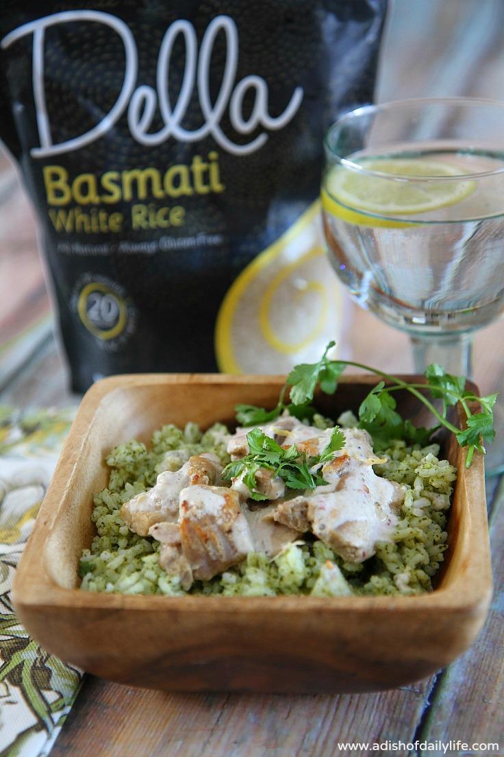Middle Eastern Yogurt Chicken with Cilantro Basmati Rice (Della Rice)