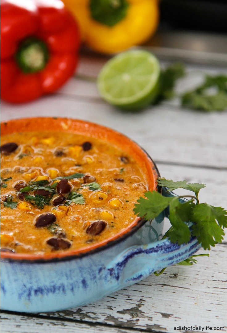 One Pot, 30 Min Meal ~ This delicious Fiesta Chicken Enchilada Soup is sure to be a family favorite! Perfect for Mexican night!