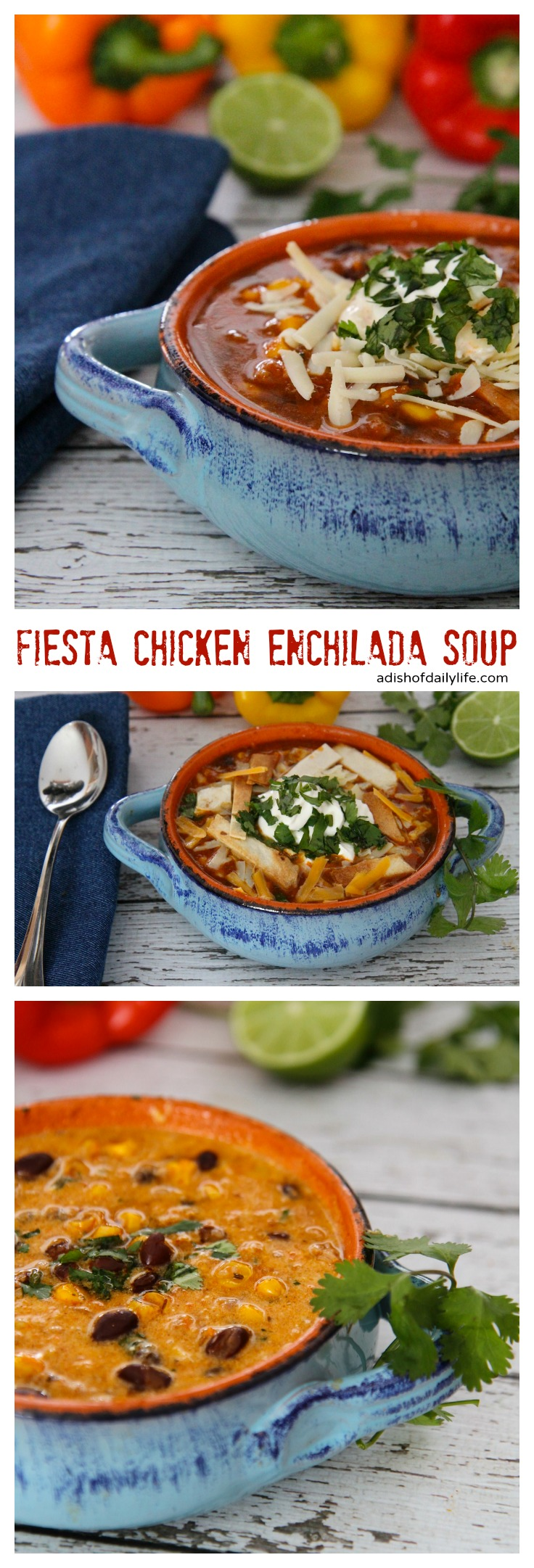 One Pot Meal ~ Delicious and easy to make, you can have this Fiesta Chicken Enchilada Soup on the dinner table in 30 minutes!