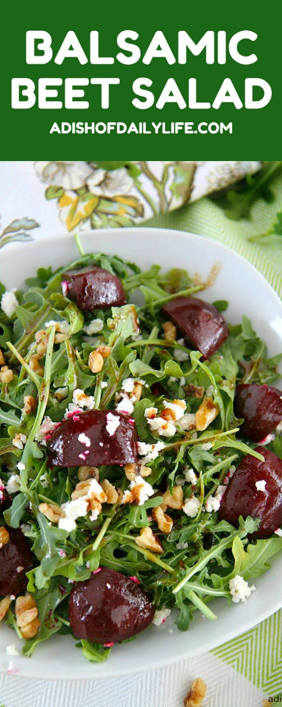 Balsamic Beet Salad with Arugula, Goat Cheese, and Walnuts...perfect for your farmer's market veggies! Serve for lunch or a light dinner. Vegetarian, gluten free, and can easily become vegan by simply omitting the goat cheese.