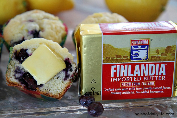 Enjoy a delicious Glazed Lemon Blueberry Muffins with some creamy Finlandia gourmet butter.
