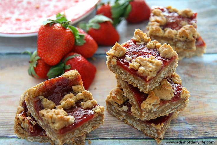Your favorite sandwich just became a cookie! These PB&J Cookie Bars with Strawberry Jam are easy to make, and a delicious way to satisfy your sweet tooth craving.